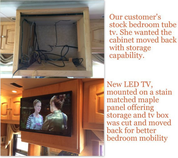 rv renovation, motorhome renovation, motorhome remodeling, rv remodeling, rv tv upgrade, rv LED upgrade